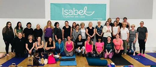 Group photo at Yoga Herts' Isabel Hospice yoga Event